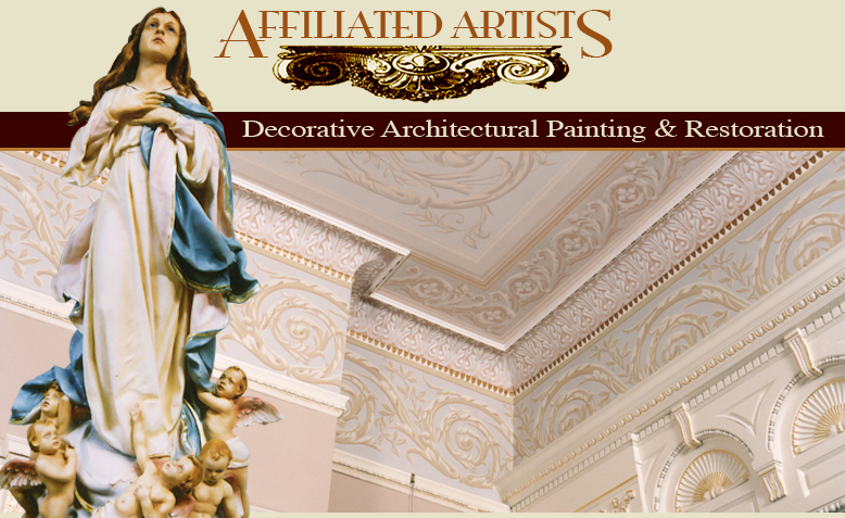 decorative painting, Church painting, restoration, mural painting, statue repair, statue painting, ornamental plaster repair, stenciling